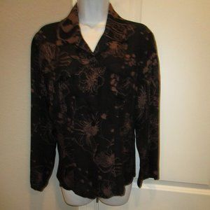 CHICO'S BROWN/BLACK FLORAL BLOUSE SIZE 1